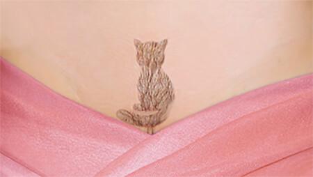 Стрижка в зоне бикини в виде кошки