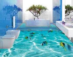 Красивый наливной 3D пол в ванной (фото)
