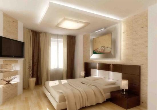 потолок в спальне из гипсокартона с подсветкой фото