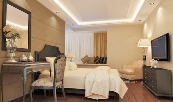 потолки из гипсокартона в спальне с подсветкой фото